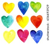 set of watercolor hearts of... | Shutterstock . vector #656693929