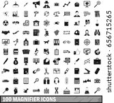 100 magnifier icons set in... | Shutterstock . vector #656715265