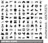 100 mill icons set in simple... | Shutterstock . vector #656715271