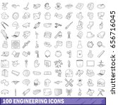 100 engineering icons set in... | Shutterstock . vector #656716045
