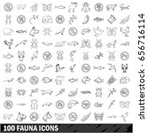 100 fauna icons set in outline... | Shutterstock . vector #656716114