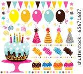 retro birthday party elements | Shutterstock .eps vector #65671687