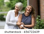 two girls laughing | Shutterstock . vector #656722639
