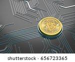 bitcoin concept  golden coin... | Shutterstock . vector #656723365
