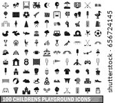 100 childrens playground icons... | Shutterstock . vector #656724145