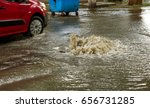 water flows out of road sewage... | Shutterstock . vector #656731285