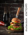 fresh juicy home burger with... | Shutterstock . vector #656752495