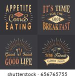 set of vintage fast food and... | Shutterstock . vector #656765755