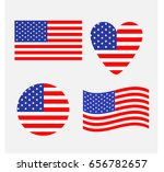 american flag icon set. waving  ... | Shutterstock . vector #656782657