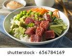 raw organic ahi tuna poke bowl... | Shutterstock . vector #656784169