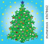 christmas tree decorated with... | Shutterstock .eps vector #65678662