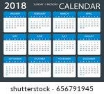 calendar 2018   sunday to monday | Shutterstock .eps vector #656791945