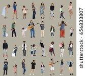 diverse of people enjoy music... | Shutterstock . vector #656833807
