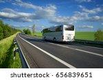 bus traveling on the asphalt... | Shutterstock . vector #656839651