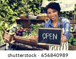 woman selling fresh local... | Shutterstock . vector #656840989