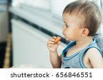 the child is sitting in the... | Shutterstock . vector #656846551