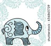 cute cartoon elephant. vector...   Shutterstock .eps vector #656865739