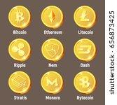 Stock vector cripto currency logo coins monero bytecoin stratis dash litecoin nem ripple ethereum 656873425