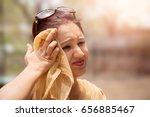 beautiful woman suffers from... | Shutterstock . vector #656885467