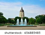 Small photo of Kansas State Capitol Building with Fountains on a Sunny Day