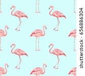 watercolor pink flamingos... | Shutterstock . vector #656886304