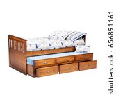 Small photo of Bed With Trundle and Underbed Storage Isolated on White Background. Contemporary Brown Wooden Bed with Linen