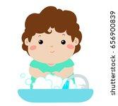 cute boy washing hands in... | Shutterstock .eps vector #656900839