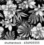 seamless tropical pattern with... | Shutterstock . vector #656905555