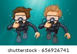 two divers making hand gesture... | Shutterstock .eps vector #656926741