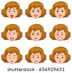 woman with different facial... | Shutterstock .eps vector #656929651