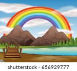 rainbow and footbridge scene