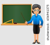 young friendly teacher standing ... | Shutterstock . vector #656941375