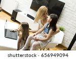 view at woman with girls on the ... | Shutterstock . vector #656949094
