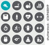 set of 16 fitness icons set... | Shutterstock .eps vector #656968849
