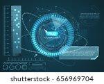 hud technology background... | Shutterstock .eps vector #656969704