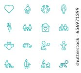 set of 16 family outline icons... | Shutterstock .eps vector #656971399