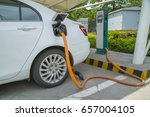 electric vehicle charging... | Shutterstock . vector #657004105