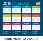 calendar 2018   american... | Shutterstock .eps vector #657020311
