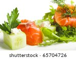 greens and salmon isolated on white background - stock photo