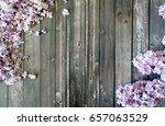 lilac on a wooden rustic... | Shutterstock . vector #657063529