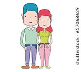 nice couple with hairstyle and... | Shutterstock .eps vector #657068629