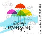 illustration of happy monsoon... | Shutterstock .eps vector #657092989