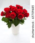 Stock photo bouquet of red roses in vase on the white background 65709685