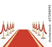 red carpet with red ropes on... | Shutterstock .eps vector #657098995