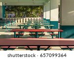 Stock photo cafeteria in school looks like a long table can eat at the same time many people 657099364