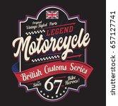 motorcycle british typography ... | Shutterstock .eps vector #657127741