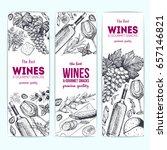 wines and gourmet snacks banner ... | Shutterstock .eps vector #657146821