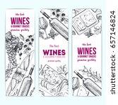 wines and gourmet snacks banner ... | Shutterstock .eps vector #657146824