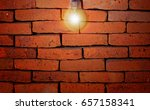 illuminated red brick wall and... | Shutterstock . vector #657158341