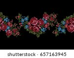 embroidery floral border ... | Shutterstock .eps vector #657163945